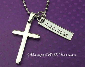 SALE - Baptism Date - Men's Cross Necklace - Boys Confirmation Gift - Personalized Date - Silver Cross Jewelry - Baptism Gift - Communion