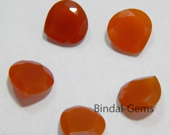 15 Pieces Wonderful Lot Red Onyx Heart Shape Faceted Cut Gemstone For Jewelry