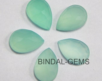 15 Pieces Lot Aqua Chalcedony Pear Shape Loose Rose Cut Gemstone