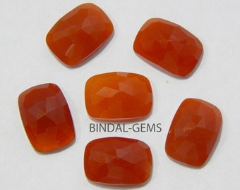 Wholesale Lot 25 Pcs Red Onyx Octagon Cushion Shape Rose Cut Gemstone For Jewelry