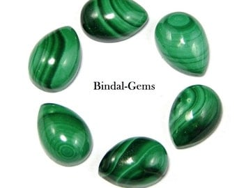 25 Pieces Amazing Lot Malachite Pear Shape Gemstone Loose Cabochon