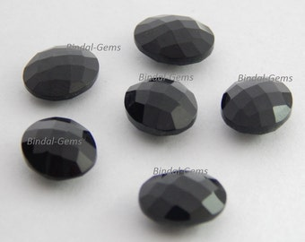 25 Pieces Lot Top Quality Black Onyx Oval Checker Briolettes Cut Gemstone For Jewelry