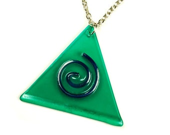 Spiral Triangle Vinyl Record Necklace