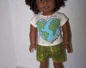 """Upcycled Earth Day """"Love Me"""" T-shirt, Shorts and bracelet - Fits 18 inch dolls"""