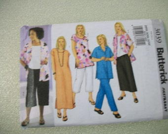 Butterick 3039 Womens (22W-26W) and (28W - 32W) shirt, top, tunic, dress, skirt and pants.  VERY EASY!
