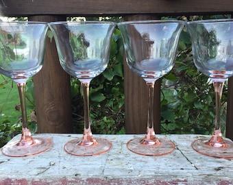 vintage Pink stemmed wine glasses, Americana Rose Cristal D Arques crystal glasses, vintage stemware, pink wine glasses, wedding toasting