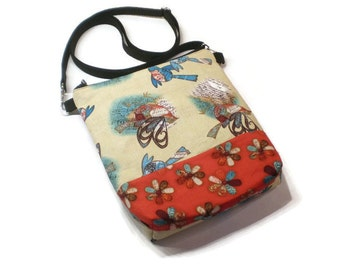Singing birds zippered shoulder purse, cross body pouch, sling bag. Tan, red and blue. Bird lover gift.