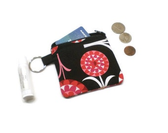 Mod flowers zippered pouch, coin purse, change bag. Black and red. Gift for her.