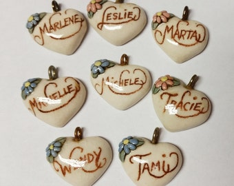 Pick One---Marlene---Leslie--Marta--Michelle--Michele--Tracie--Wendy---Tami-----Vintage Ceramic Heart Name Pendant