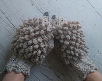 hedgehog mittens knit mittens  brown mittens for sisters for best friends gifts for wives, gifts for girlfriends, valentine gifts,  for her