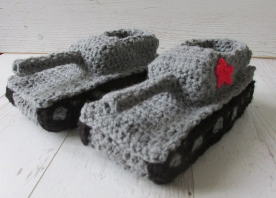 Knitting Pattern For Army Tank Slippers : Panzer Slipper Panzer tank Slipper best man gifts military