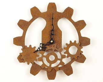Steampunk Wall Clock -  Industrial Rusty Gears
