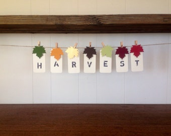 Harvest Fall Autumn Thanksgiving Banner Holiday Decoration Stamped Hang Tag Bunting Garland Leaf Clothes Pins Country Holiday Party