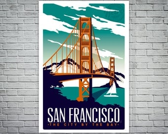 San Francisco Travel Poster Vintage Golden Gate Bridge Screen Print