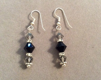 Sterling Silver and Crystal Dangle Black Gray Earrings