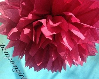 BURGUNDY / tissue paper pom pom / wedding decorations, baby shower, bridal shower, nursery decor, birthday decorations, party decor, diy