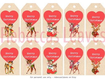 Vintage Deers Christmas Tags, Retro gift tags, Instand Download, digital file