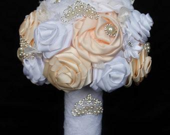 Wedding Bouquet, bridal bouquet, brooch bouquet, ribbon bouquet, fabric bouquet, ivory wedding bouquet, alternative bouquet,