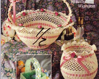 Crocheted  Baskets and Bowls Crochet Patterns, 6 Crochet Basket and Crochet Bowl Patterns, Vintage 1993
