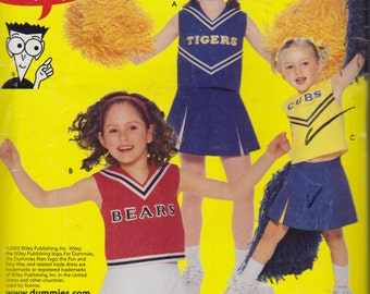 Simplicity Pattern, 635 Halloween Cheerleader Costume, Cheerleader Uniform Patterns for Sizes 8,10 and 12, Cheerleader Skirt, Panties