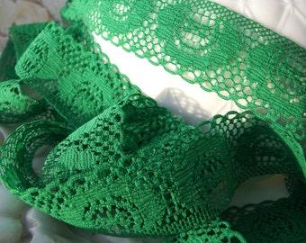 "1 3/8"" Vintage Medallion Lace Trim - Green Trim by the Yard - Vintage Sewing Lace Trims Wholesale #129"