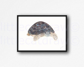 Tortoise Print Watercolor Painting Print Wall Art Clyde The Tortoise Art Bathroom Wall Decor Tortoise Wall Art Home Decor Art Print
