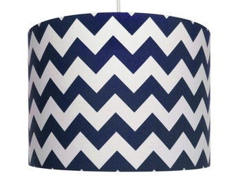 Navy blue and White Chevron Fabric, Riley Blake, Cotton Drum Lampshade, Small Lampshade 20cm - Large Lampshade 40cm or Custom Order