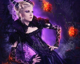 Fantasy woman art,demon woman art,fantasy wall decor,dark art,devil woman,woman with horns,flaming roses,roses on fire,purple art