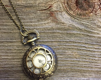 Pocket Watch Necklace, Clock Necklace, Double Clock Necklace, Bronze Pocket Watch Necklace, Gold Pocket Watch, Gift For Her, Bronze Clock