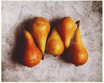 Fruit Pears Fine art photography Kitchen Wall art fine print decor Food Still Life photo Orange Yellow color Rustic Shabby chic Autumn fruit