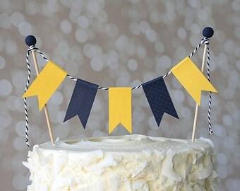 Preppy Nautical Michigan Cal Bears Navy Blue & Gold Birthday Cake Bunting Pennant Flag Cake Topper-Birthday, Shower Cake Topper
