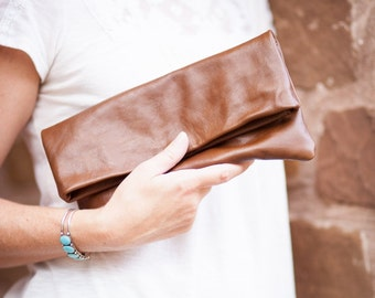 Leather Fold-over Clutch in Brown