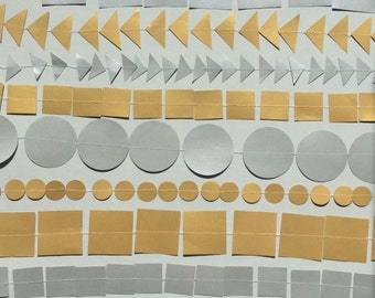 Metallic paper garland - paper party decoration, silver paper, gold paper, customisable