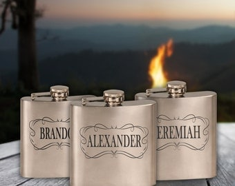 6 oz. Stainless Steel Personalized Flask, Custom Engraved Gift