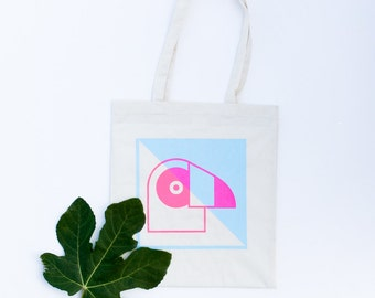 Tote bag neon pink soft blue geometric handprinted  - Toucan