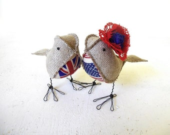 Wedding Cake Topper UK US Love Birds Soft Sculptures Rustic Flax Linen Burlap Shabby Chic Patriotic theme