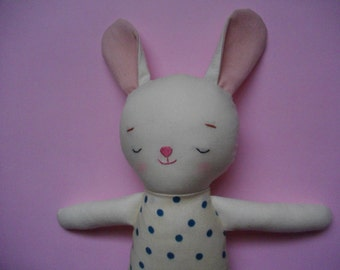 Sleepy Bunny Plush - Handmade cloth doll stuffed bunny plushie baby toy