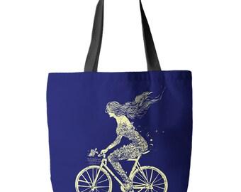 Tote Bag by Clockwork Gears - Bicycle Art - Mermaid Bike Tote Bag 18 x 18 Made in the USA