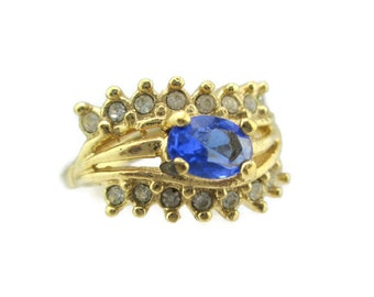 Vintage 14k HGE Gold Oval Sapphire  Austrian Crystal Ring Size 5
