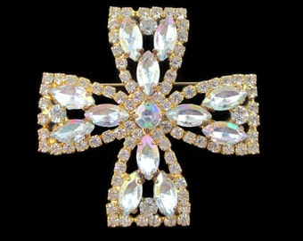Vintage Aurora Borealis Rhinestone Maltese Cross Gold Tone Pin Brooch