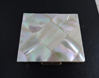 Vintage Mother of Pearl Pressed Powder Compact |  Square Shell Tiles Design | Gold Collectible Cosmetics Case | GreenTreeBoutique