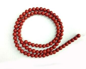 4mm natural red jasper beads, loose gemstone beads, jasper stone beads, small round spacer beads for jewelry making 15'' strand