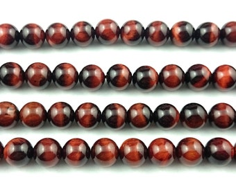 A+,  natural red tiger eye beads round polished gemstone beads wholesale, tiger eye stone beads 10mm strand