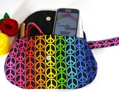 Rainbow Clutch Purse with Strap - Rainbow Peace Signs - Gifts for Her
