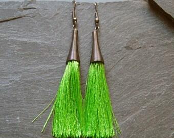 Green tassel earrings, Long earrings, Statement earrings, Bohemian earrings, Gift for her, Fringe earrings, Gunmetal earrings, 1127-3