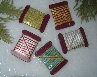 "Antique German Rare ""Lahnband"" Metallic Ribbon Old Stock Christmas Craft Vintage Gift Wrap Decor"