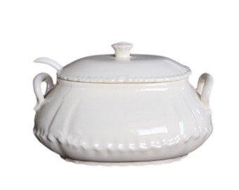 Vintage White Ironstone Soup Tureen with Lid and Ladle