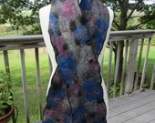 OOAK Nuno Felted Scarf - All Natural Black & Grey Alpaca Decorated with Bamboo, Cormo, Merino, Mulberry Silk and Tussah Silk
