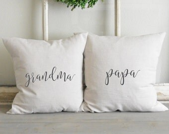 Grandma_Papa 20 x 20 Pillow Cover Set_Grandparents, home decor, cushion, gift, present.