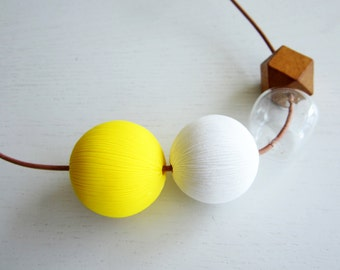Dots Necklace No. 7   yellow, white  